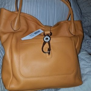 Dooney and Bourke Belvedere Leather Logo Lock Tote